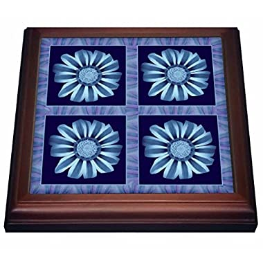 3dRose trv_31657_1 Four Turquoise and Soft Blue Striped Flowers with Blue and Purple Flower Petal Border Trivet with Ceramic Tile, 8 by 8 , Brown