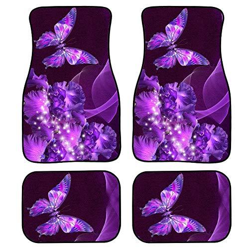 UNICEU Chic Purple Butterfly Sparkling Car Floor Mats Stylish Decor Carpet Floor Mats Front & Rear Full Set Universal Fit Cars,SUVs,Trucks