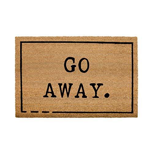NIKKY HOME Coir Welcome Mats for Front Door Non Slip Home Doormat with Word Go Away - 36 X 24 Inch