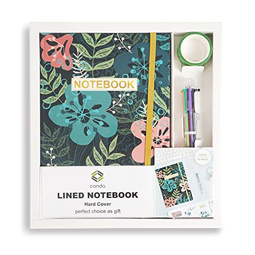 Conda Notebook Set Ruled Lined Journal, A5, 80 Sheet Hardcover Strong Twin-Wire Binding with Premium Paper with Ballpoint Pen, Washi Tape