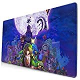 Video Game Ze-ld-a Br-ea-th of The W-i-ld L-i-nk Rectangle Non-Slip Cozy Large Desk Pad with Stitched Edges Rubber Base Lovely Mouse Pad Design Desk Accessories for Office School 15.8x29.5 in