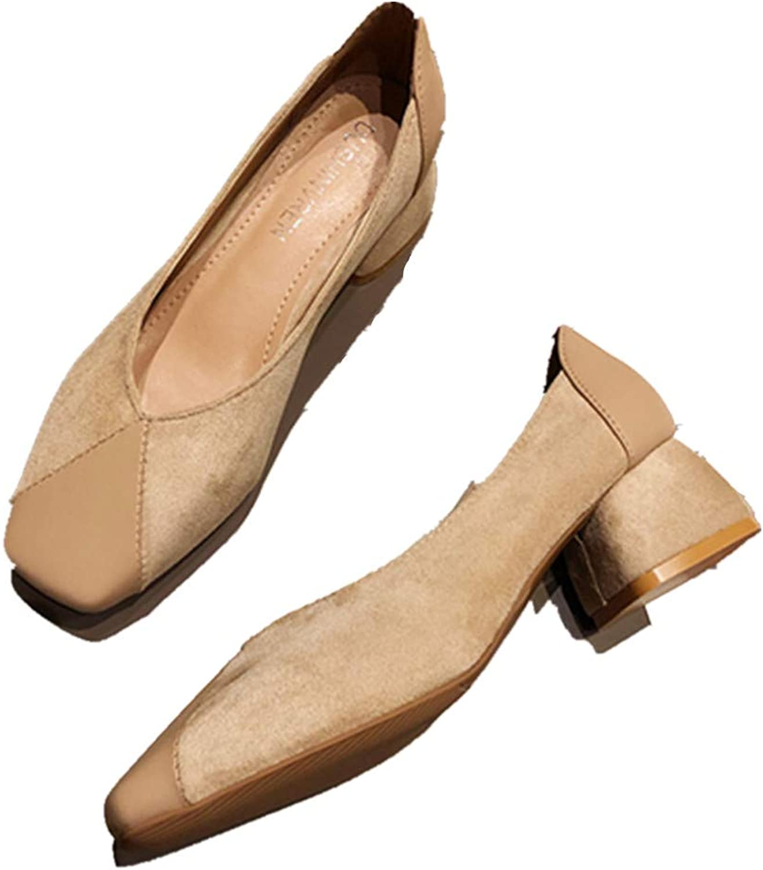 Meimeioo Womens Block Heel Pumps shoes Ladies Slip on Office Work Evening Dress shoes