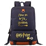 NYLY Harry P Mochila portátil,Hogwarts College Casual Daypacks Multifunción Mochila Moda Carta Schoolbag M Azul Marino