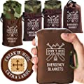 Don't Die In The Woods - Freakin' Huge Emergency Blankets [4-Pack] Extra-Large Thermal Mylar Space Blankets with Ripstop Nylon Stuff Sacks + Carabiner Zipper Pack [Woodland Camo]