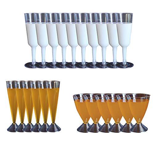 TopKi Einweg-Sektgläser, Kunststoff, transparent, Einweg-Partybecher für Urlaub, Party, Hochzeit, Jubiläen und Catering-Events, 22 Stück