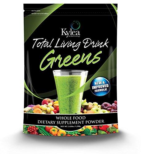 Total Living Drink Greens Superfood Powder - (2.65 lbs Bag, 30 Servings, 60 Ingredients) - Enzymes, Antioxidants, Herbs, Probiotics, Vitamins and Minerals.