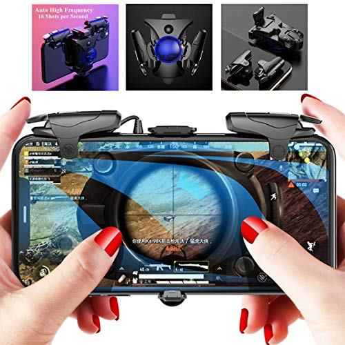 PUBG Mobile Controller - Aovon 4 Modes 16 Shots per Second Auto High Frequency Click L1R1 Fast Shooting Game Trigger Joystick Grip for 4.7-6.5 inch Android iOS Smartphone