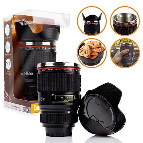 Twitfish Camera Lens Becher mit Edelstahl-Thermosfutter und verschließbarer Keksschale