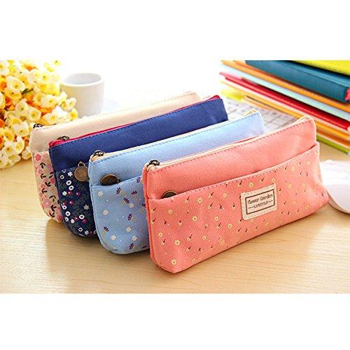 Trousse de stylos tissu fleurs mignonne pour filles, sac de maquillage cosmétique papeterie Happy Star® bleu clair