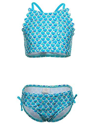 DUSISHIDAN BikiniKinderMädchen Sommer Bademode Kreuz zurück Süß Blaue Skalen Badeanzug Swimsuit M