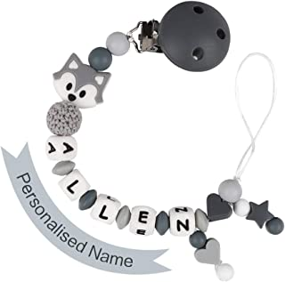 Pacifier Clip Personalized Name, MCGMITT Customized Fox Binky Holder Teething Silicone Beads for Baby Girls Boys (Grey)
