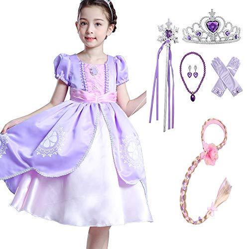 yeesn Disfraz de Princesa Sofía para niñas, Disfraz, Halloween, Fiesta de cumpleaños, Disfraces