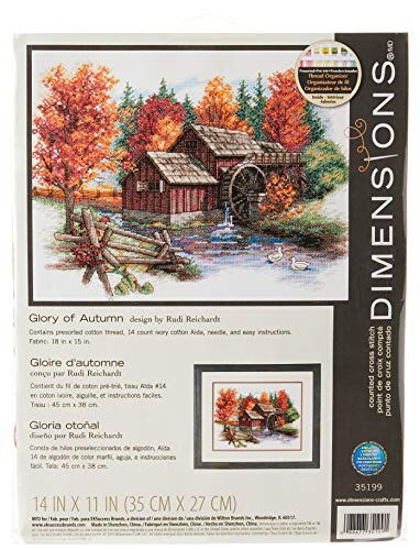Dimensions 'Glory of Autumn' Seasonal Counted Cross Stitch Kit, 14 Count Ivory Aida, 14' x 11'