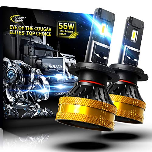Cougar Motor Ultimate H7 LED Bulb, 20000LM High-focus Extremely Bright 6500K Cool White Conversion Kit - Adjustable Beam, Halogen Replacement