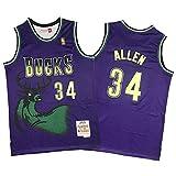 KHLKGMW Jersey de baloncesto, Allen #34 Retro Baloncesto Entrenamiento Camiseta Transpirable Bordado Sin Mangas Chaleco para Hombres Mujeres S