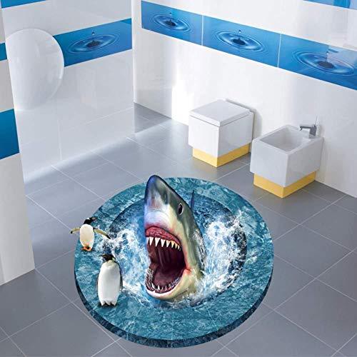Wandtattoos Mode 3D-Aufkleber Bad dekorative Vinyl Boden Aufkleber Hai aus einer Bohrung Pinguine Wand Aufkleber Art Poster