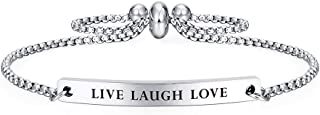 Kisseason Inspirational Mantra Bracelet for Women Girl Jewelry Adjustable Chain Friendship Bangle Bracelet