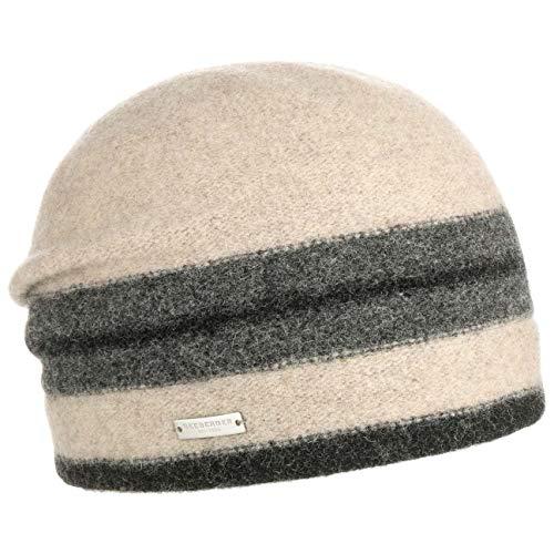 Seeberger Stripes Walkmütze Damenmütze Beanie Wintermütze Wollmütze (One Size - schwarz-beige)