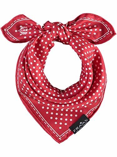 FRAAS Bandana Tuch gepunktet - elegantes Nickituch für Damen - schickes Seidentuch mit Polka Dots - Haarband gepunktet - Dreieckstuch Rot