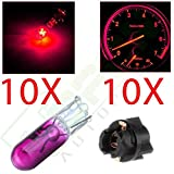 topcn-autoparts 10x - Twist Lock T5 Pink Halogen Bulb, Compatible with Instrument Dash Cluster Indicator Light