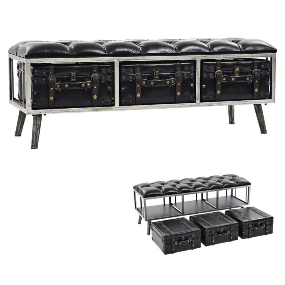 Festnight Banco de Almacenamiento de Diseño Industrial Puf Caja de Almacenamiento con 3 Cajones de Maleta Patas de Acero MDF y Cuero Artificial 120x41x46,5cm: Amazon.es: Hogar