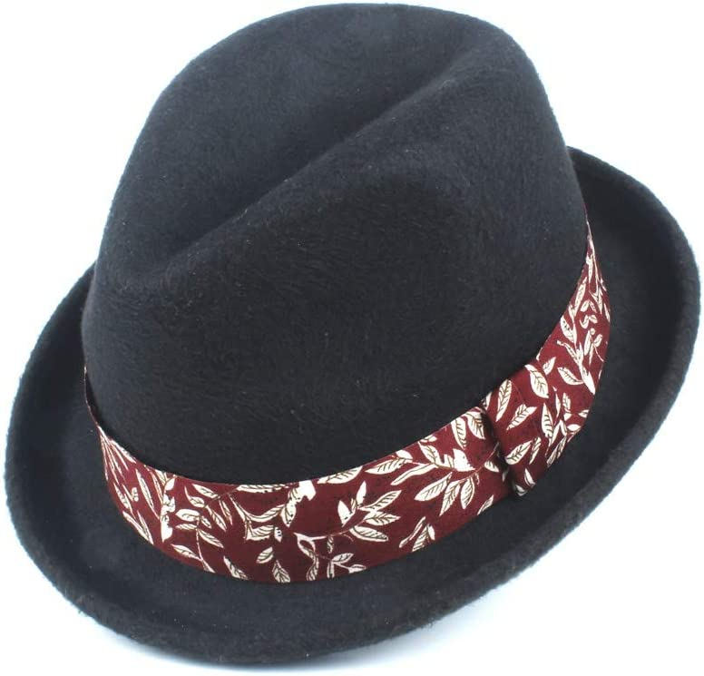 HXGAZXJQ Fashion Fall 2019 Winter Wool Polyester Fedora Hat Ladies Hat Men's Jazz Panama Retro Hat (Color : Black, Size : 58cm)