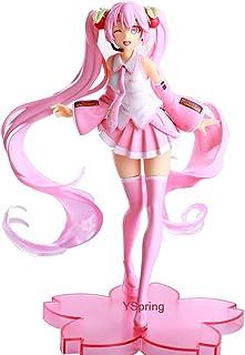 YSpring Pink Cute Hatsune Miku Sakura Cartoon Action Figure Anime Collections Hatsune Miku Wink Figurine Cake Topper