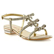 Gorgeous Womens Strappy Diamante Bow Detailed Party Holiday Sandals This Style Is Absolutely Perfect For Warm Summer Days & Evenings! 0.2 Inches / 0.5 CM Heel Height Stunning Diamante Bow Detailing Made With All High Quality Materials