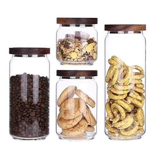 KKC Borosilikatglas Glasbehälter mit Deckel Vorratsdosen Glas mit Holz Deckel Salz Zucker Tee Vorratsglas Luftdicht (550ML,850ML,1150ML,1450ML)