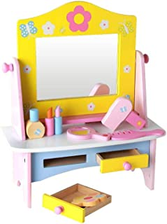 Girls Play Dressing Table Wooden Pink Kids Playroom Toy Make Up Dresser