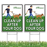 HOME COMPOSER 2 Pack No Pooping Dog Signs for Yard, 12'x9' Please Clean Up After Your Dog Signs, Doubled Sided Weather Resistant Corrugated Plastic Lawn Yard Signs with Metal H-Stakes (2 Pack)