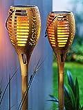 SONNENKERZE Lot de 2 lampes solaires de jardin « Flamme » - Effet bambou XXL - Fonction 3 en 1 : torche de jardin, suspension, lampe de table avec éclairage LED