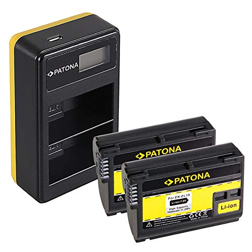 PATONA 2X EN-EL15 Batería con Cargador Doble LCD USB Compatible con Nikon 1 V1, Z6, Z7, D7000, D7100, D7200, D7500