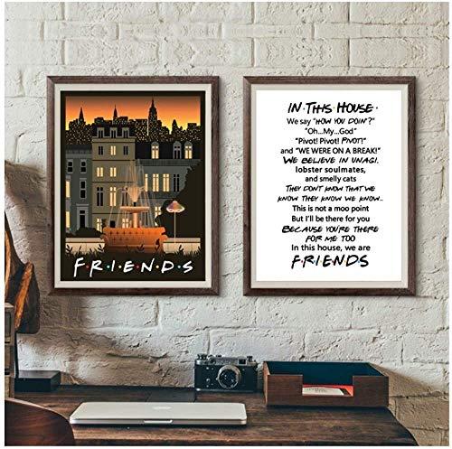 Surfilter Print auf Leinwand Friends Tv Classic Poster Drucke Wandkunst Dekoratives Bild Leinwand Malerei für Wohnzimmer Wohnkultur 15.7& rdquo; x 19.6& rdquo; (40x50cm) x2 No Frame