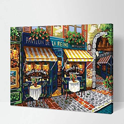 Moda Enmarcada Calle Parisina Diy Pintura By Números Art Lienzo De Pintura Decoración Para El Hogar Sala De Estar Imagen De Arte De Pared 40x50cm