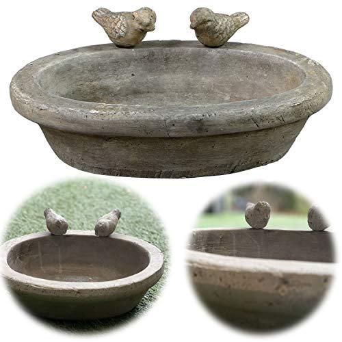 LS-LebenStil Vogelbad Vogel-Tränke Keramik Oval 30cm Grau Balkon Terrasse Garten Bienen