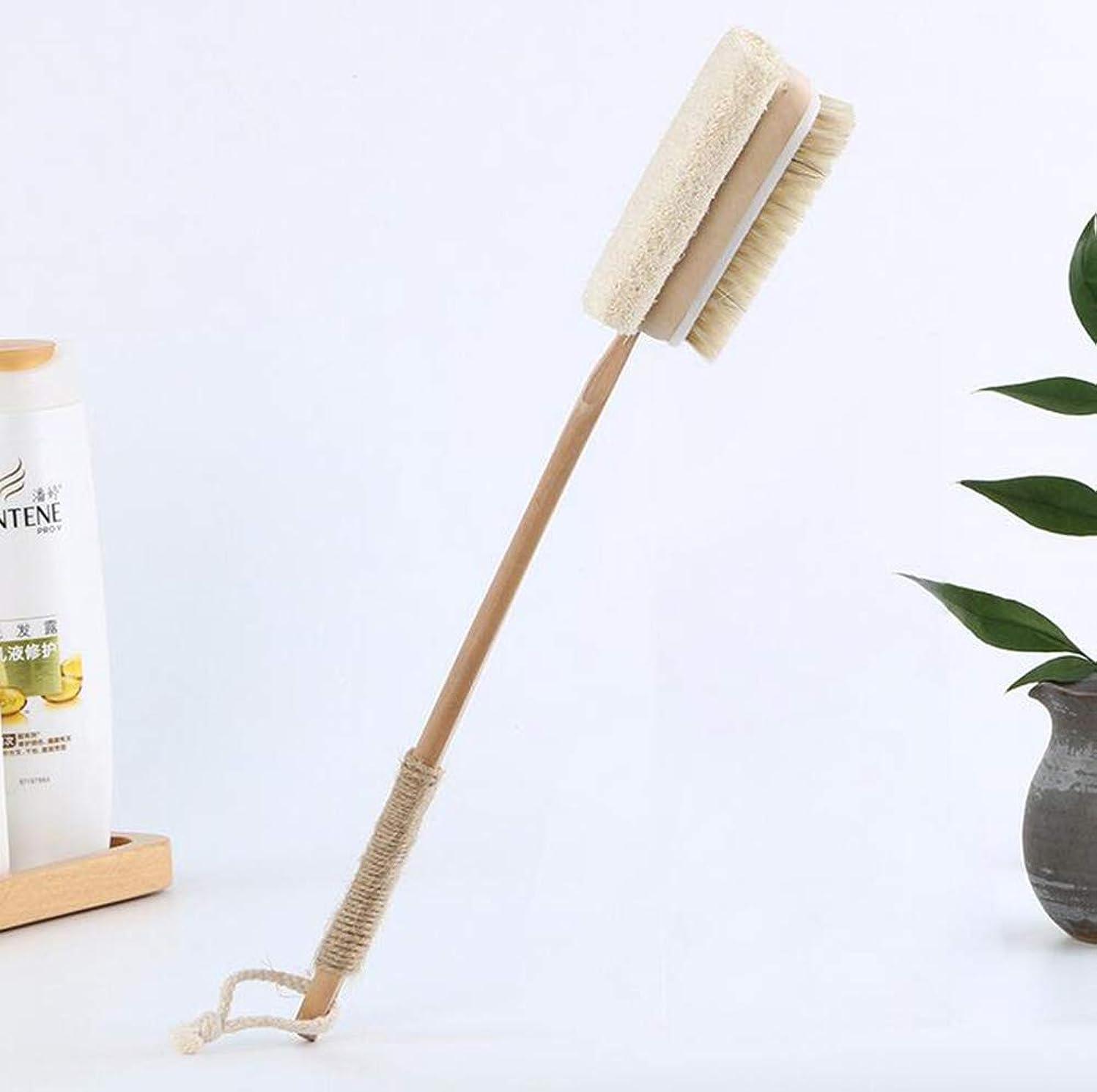 オーク同志着実にバスブラシ、長い木製ハンドルドライブラシボディブラシバスブラシ長いハンドル、皮膚やセルライトを剥離するため、ウェットまたはドライ使用