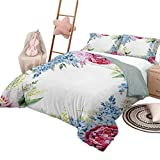 DayDayFun Quilt Set Flower 3 Piece Bedspreads Coverlet Springtime Fragrance Garland with Bunch of Flowers Lilac Lavender Rose Peony Artsy Print King Size Multi