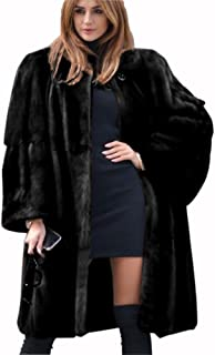 Womens Winter Faux Fur Coat Warm Thick Plus Size Trench Jacket Luxury Long Cape Casual Outwear Overcoat