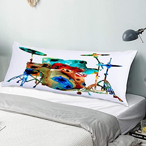 Personalizado Funda de Almohada Larga,Tambor música músicos Bandas Rock Jazz batería batería Instrumento Solo,Funda de Almohada para el Cuerpo con Cremallera Sofá para Dormitorio,54' x 20'
