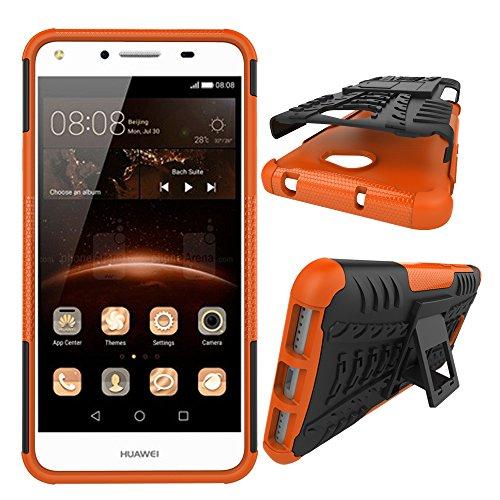 XINYUNEW Funda Huawei Y5 II 2016, 360 Grados Protective+Pantalla de Vidrio Templado Caso Carcasa Case Cover Skin móviles telefonía Carcasas Fundas para Huawei Y5 II 2016-Naranja