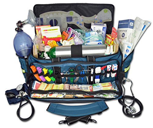 Lightning X Jumbo Oxygen Medic First Responder EMT/EMS Bag Stocked Trauma Kit LXMB50-SKD (Blue)