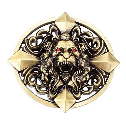 HQYYDS Corbata bolo Gótico céltico Cruz 3D cráneo Cabeza Pesada cinturón Hebilla Hombres Occidental Vaquero joyería cinturón Hebillas Hombres Metal Novedad