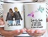 Funny Mug Custom Long Distance Friendship Mug, Side by Side or Miles Apart Coffee Mug, Choose Names Hairs & States, Personalized Going Away Gift Mug for Sister, Mom, Friend, 11 / 15 oz