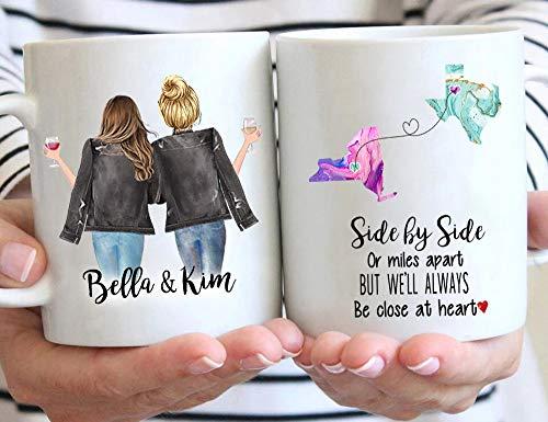 Custom Long Distance Friendship Mug, Side by Side or Miles Apart Coffee Mug, Choose Names Hairs & States, Personalized Going Away Gift Mug for Sister, Mom, Friend, 11 / 15 oz