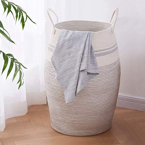 OIAHOMY Laundry Hamper Woven Cotton Rope Large Clothes Hamper 256quot Height Tall Laundry Basket with Extended Cotton Handles for Storage Clothes Toys in Bedroom Bathroom Foldable Light Grey