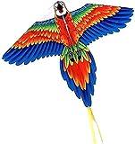 LSDRALOBBEB Cometas para Niños Colorido Pavo Real Loro Cometa Grande con Cuerda de Cometa, Cometa fácil de Volar para Principiantes, niños y Adultos, Ideal para Actividades al Aire Libre, Azul 929(