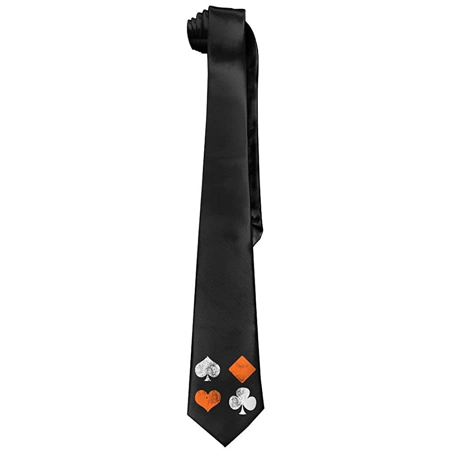ZOZGETU Necktie, Funny Vintage Poker Playing Cards Mens Fashion Skinny Necktie Ties Novelty Necktie Silk Unisex1