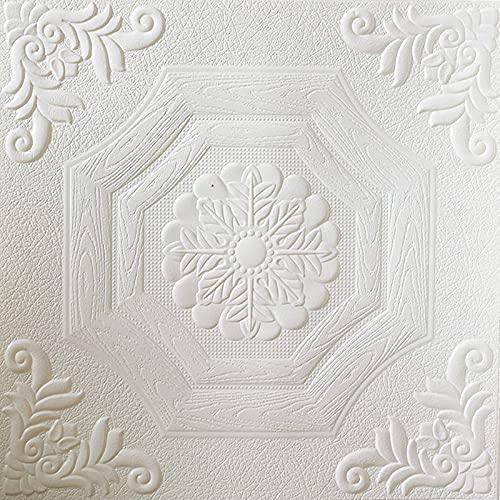 WSWJDW Papel pintado 3D Pegatinas de pared autoadhesivas a prueba de agua Decoración de techo de techo Decoración de papel de contacto de techo de techo Calcomanías en relieve, Color 2,59cmx59cmx20pc