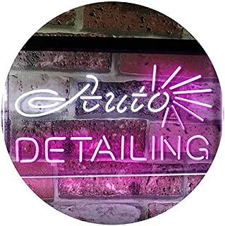Auto Detailing Garage Car Repair Shop Dual Color LED Neon Sign White & Purple 400 x 300mm st6s43-s2233-wp